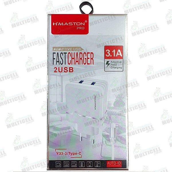 CARREGADOR USB H'MASTON TURBO 3.1A Y33-1/Type-C MODELO TIPO C