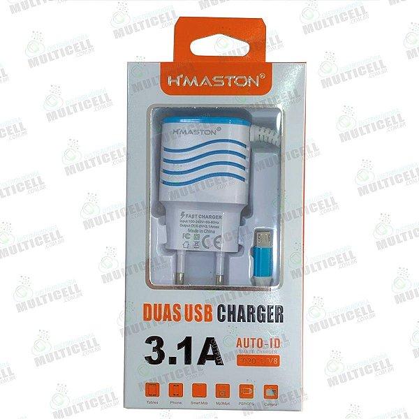 CARREGADOR USB H'MASTON SUPER RAPIDO 3.1A F020-1/V8 MODELO MICRO USB V8