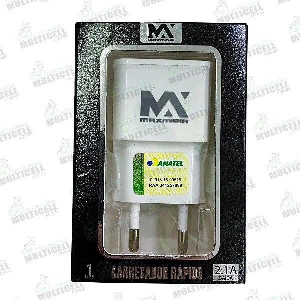 FONTE USB MAX MIDIA 2.1A CARREGADOR RAPIDO MODELO SAMSUNG