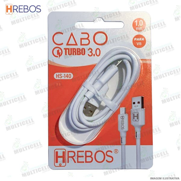 CABO USB TURBO POWER 3.0A MODELO V8 HREBOS HS-140 BRANCO