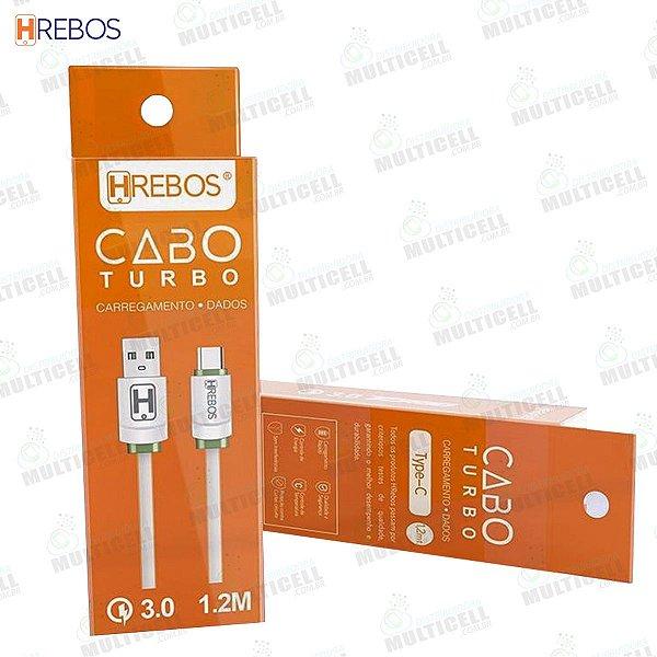 CABO USB TURBO 3.0A 1.2M TURBO HREBOS HS-124 TIPO C