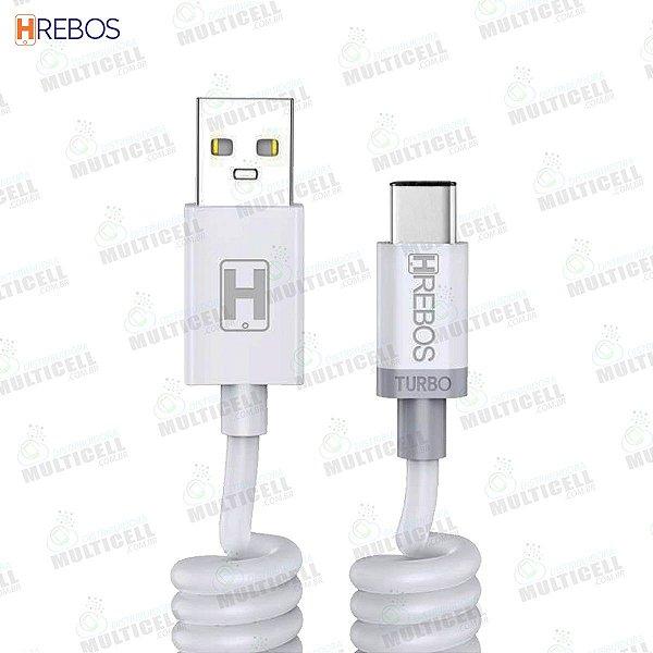 CABO ESPIRAL USB 3.1A 1.6M TURBO HREBOS HS-138 TIPO C
