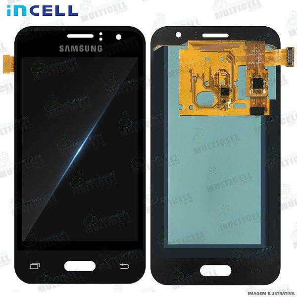 GABINETE FRONTAL DISPLAY LCD MODULO COMPLETO SAMSUNG J120 GALAXY J1 2016 PRETO 1ªLINHA (QUALIDADE INCELL)