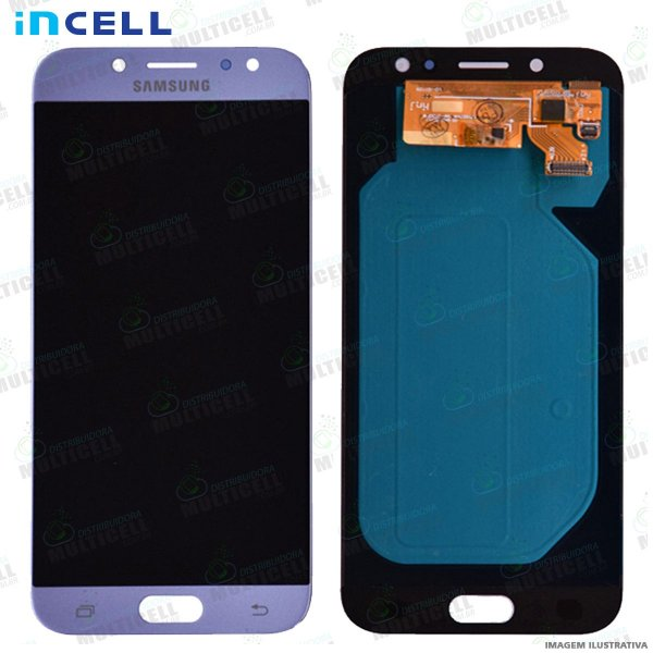 GABINETE FRONTAL DISPLAY LCD MODULO COMPLETO SAMSUNG J730 GALAXY J7 PRO AZUL 1ª LINHA (QUALIDADE INCELL)