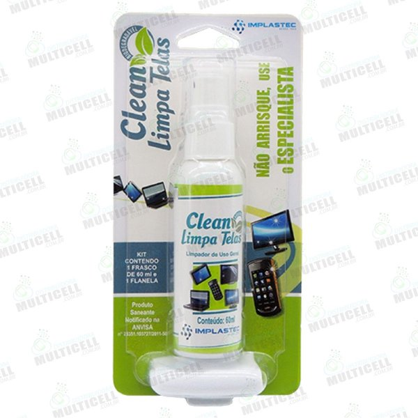 KIT CLEAN LIMPA TELAS IMPLASTEC 60ml + PANO MICRO FIBRA