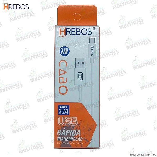 CABO USB TURBO 3.0A TRANSMISSÃO RAPIDA HREBOS HS-78 TIPO C