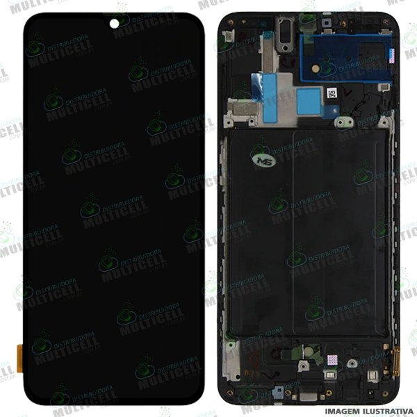 GABINETE FRONTAL DISPLAY LCD MODULO COMPLETO SAMSUNG A705 GALAXY A70 1ªLINHA (QUALIDADE INCELL C/ ARO SEM SENSORES)