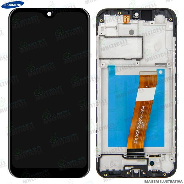 GABINETE FRONTAL DISPLAY LCD MODULO COMPLETO SAMSUNG A015 GALAXY A01 ORIGINAL  (COM ARO)