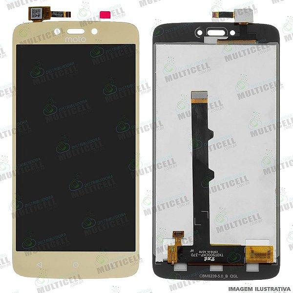 GABINETE FRONTAL LCD DISPLAY MODULO COMPLETO MOTOROLA XT1750 XT1754 XT1757 XT1755 MOTO C DOURADO 1ªLINHA QUALIDADE AAA