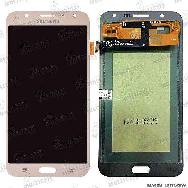 GABINETE FRONTAL DISPLAY LCD MODULO COMPLETO SAMSUNG J700 GALAXY J7 DOURADO 1ªLINHA (QUALIDADE INCELL TTC)