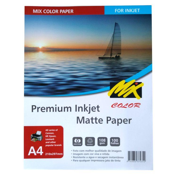 Papel Matte - 108g - A4 - 210x297 100fls - Mix Color