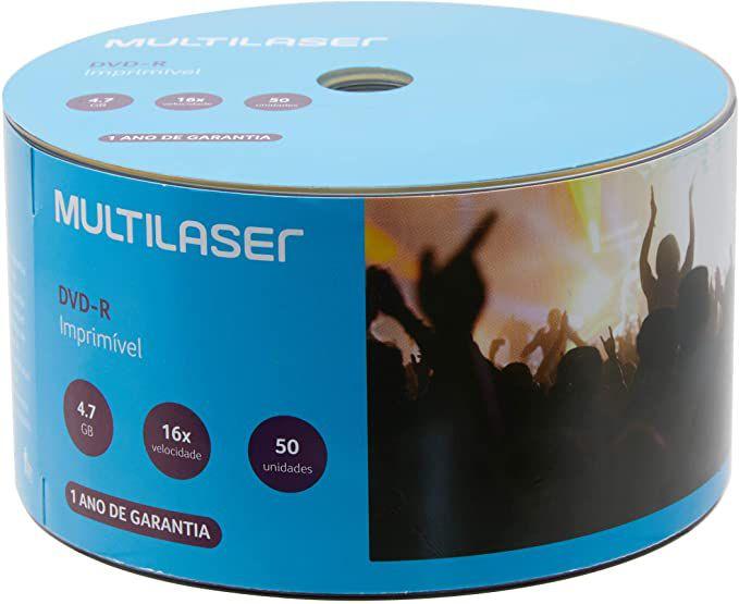 DVD-R 4.7GB  16x 120min Multilaser printable - 50 Unidades