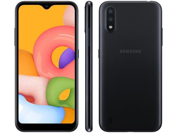 """Smartphone Samsung Galaxy A01 32GB 2GB RAM Tela 5.7"""" Preto"""