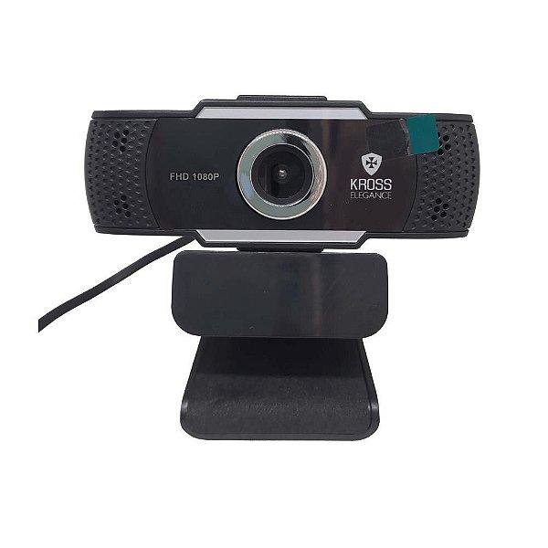 Webcam 1080p Kross Elegance Foco Manual Full HD com Tripé e Capa para lente