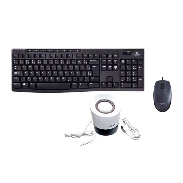 Kit 3 em 1 Teclado + Mouse M100 + Caixinha de Som