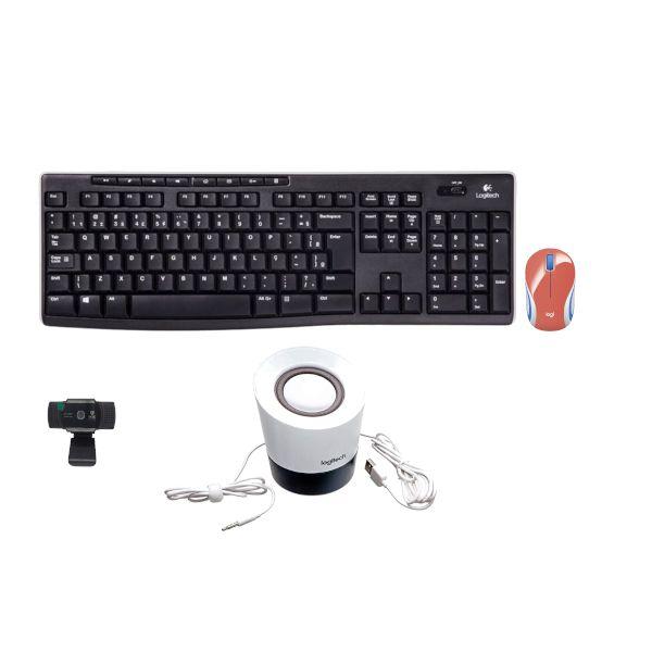 Kit 4 em 1 Teclado + Mouse + Caixa de som + Webcam