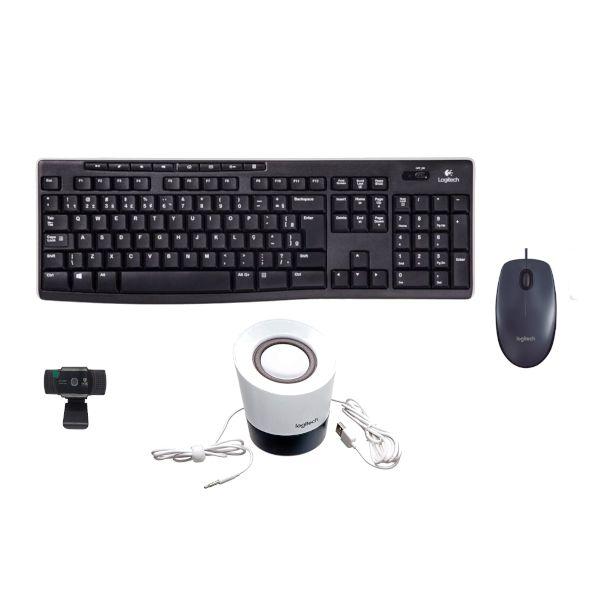 Kit 4 em 1 Teclado + Mouse M100 + Caixa de Som + Webcam