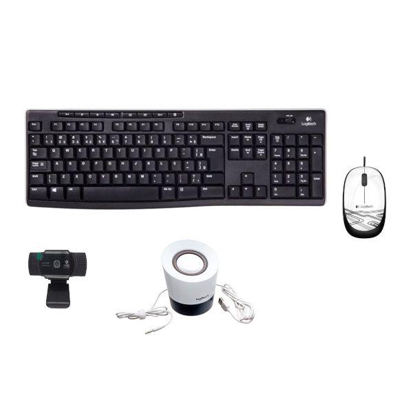 Kit 4 em 1 Teclado + Mouse M105 + Caixa de som + Webcam