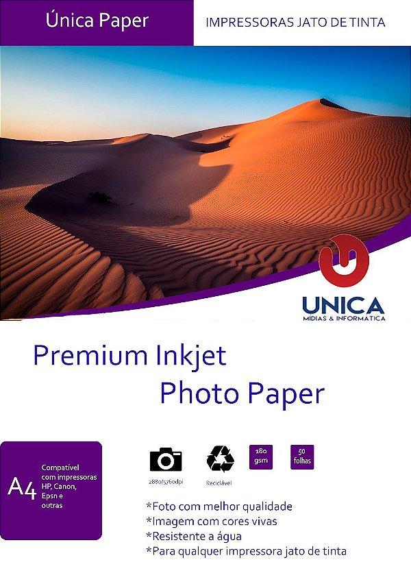 Papel Fotográfico Premium A4 Glossy 180g 50 folhas