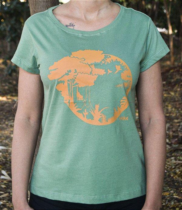 Baby Look Linha Tingimento Natural - Estampa Sucessão Ecológica - Artista Laura Romano
