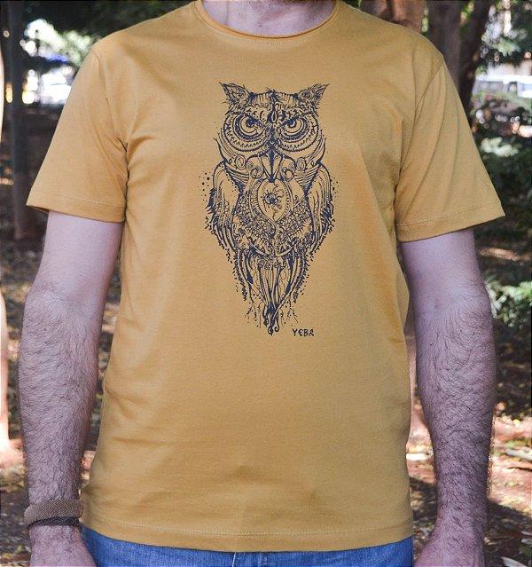 Camiseta em Algodão Orgânico - Estampa Coruja - Artista David Kelleher
