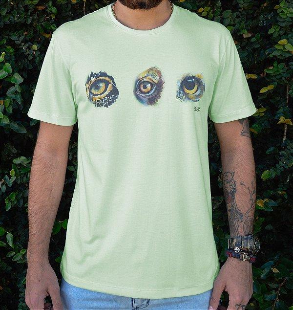 Camiseta Masculina em Algodão Orgânico - Estampa Olhos - Artista: Cristiane Gardim