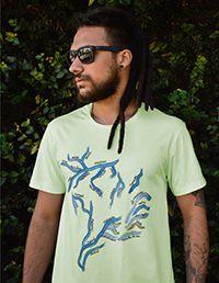 Camiseta Masculina em Algodão Orgânico - Estampa Rios brasileiros - Artista: Priscila Fernandes