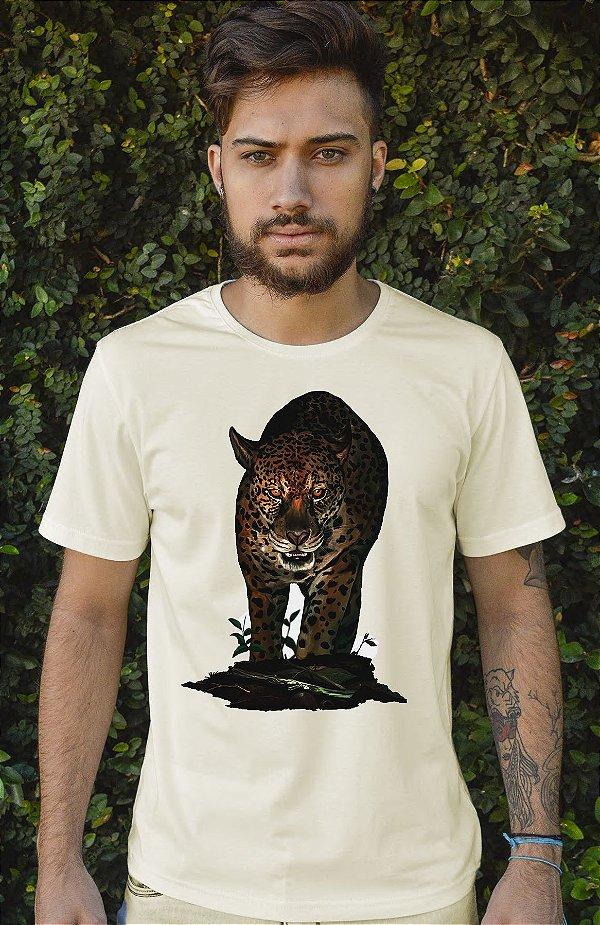 Camiseta Masculina em Algodão Orgânico - Estampa Onça Pintada - Artista: Ricardo Sanches