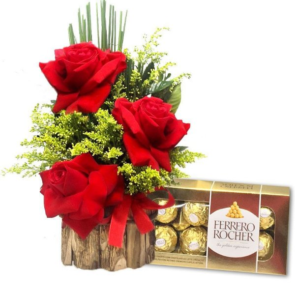 Ferrero Rocher e Arranjo 3 Rosas abertas
