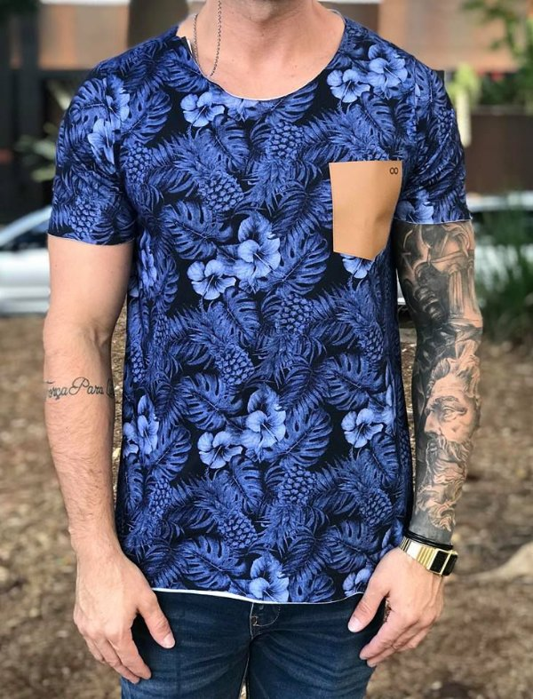 T-shirt Floral Marinho - Booq For Men