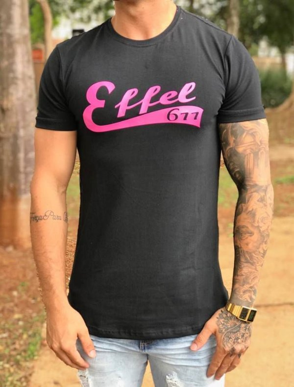 Camiseta Longline New Black/Pink - Effel Culture