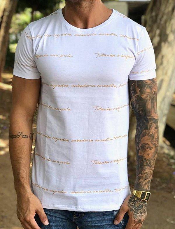 T-shirt Manuscrito Gold White - Totanka