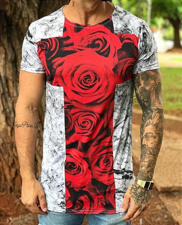 Camiseta Longline Cruz Rosas - Kawipii