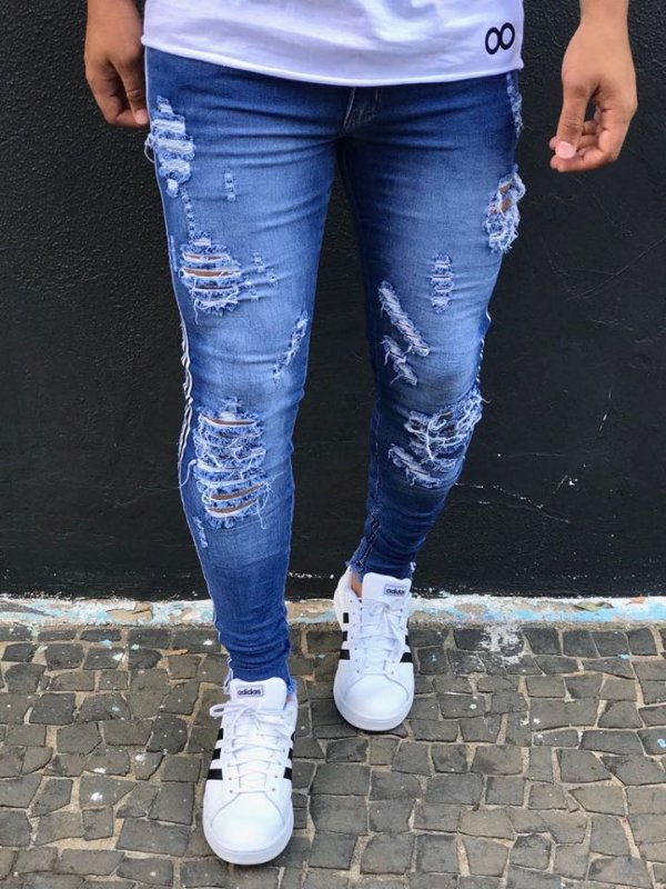 Calça Jeans Skinny Destroyed 3D & Faixa Lateral - Kawipii