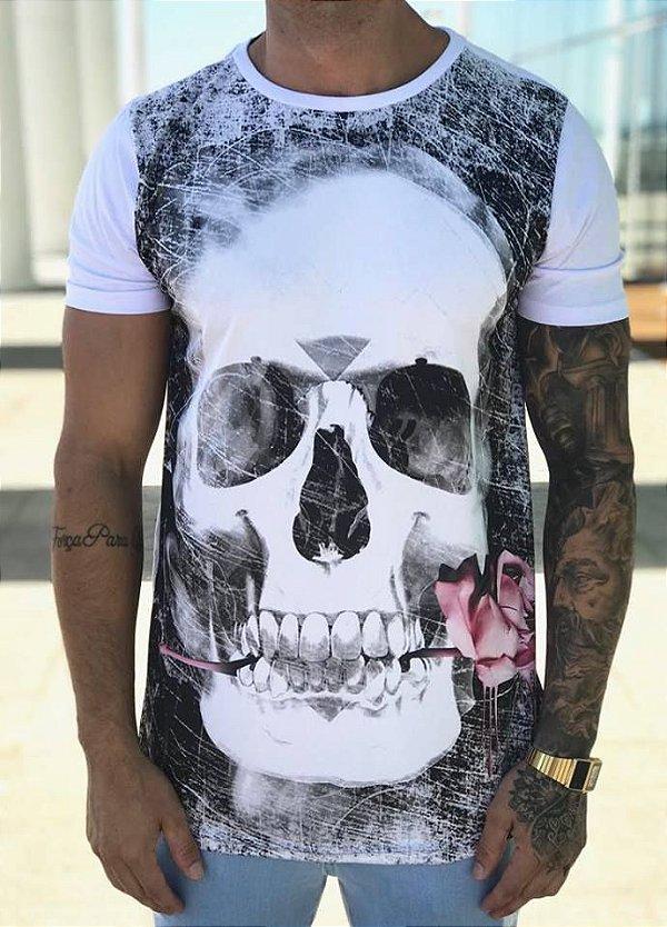 Camiseta Longline Skull Rose White - Conviction Clothing