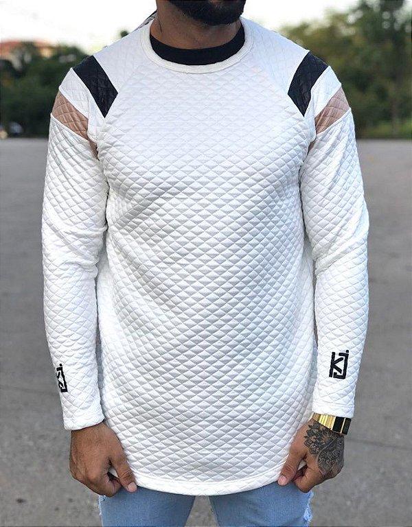 Camiseta Manga Longa Matelasse  White Listras - King Joy