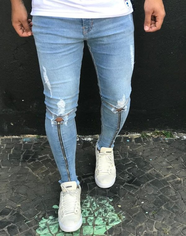 Calça Jeans Skinny Light C/Zíper Joelho - Degrant
