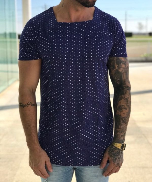 Camiseta Longline Poá Azul Marinho - Exalt Urban