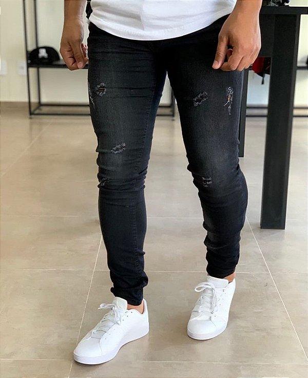 Calça Jeans Skinny Destroyer Super Stone - Zip Off