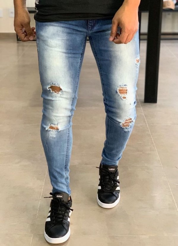 Calça Jeans Skinny Destroyed Sky Bleach Best - Zip Off