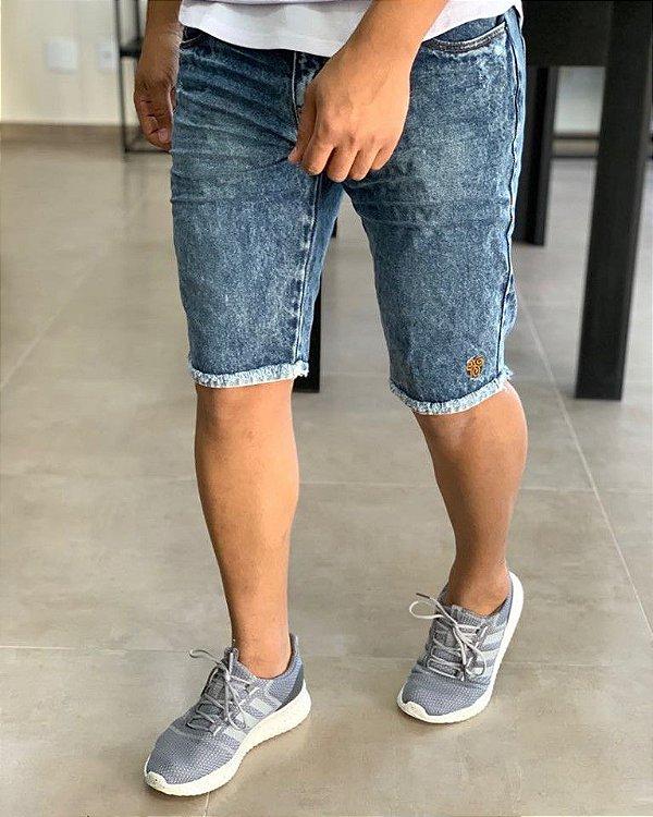 Bermuda Jeans Amassado 3D Marmorizado - Degrant