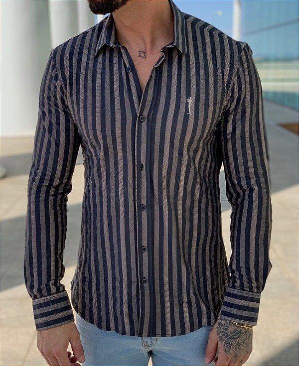 Camisa Manga Longa Listrada Cinza - Zip Off