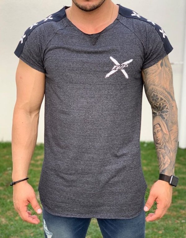 Camiseta Longline Raglan Grey Three X - Kawipii