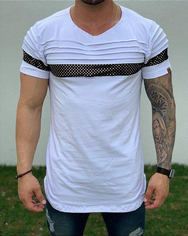 Camiseta Longline White Recorte Dourado - Kawipii