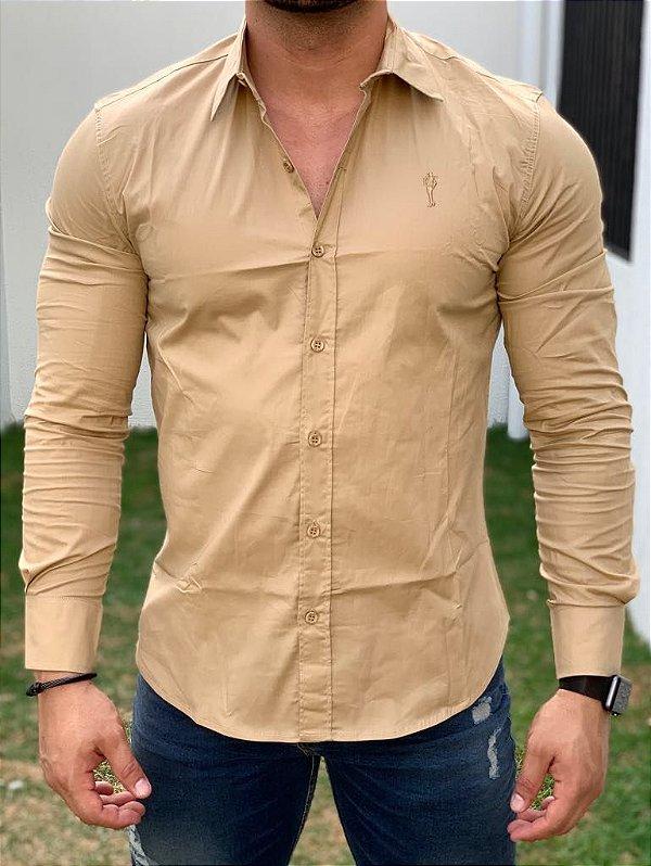 Camisa Manga Longa Basic Caramelo - Zip Off