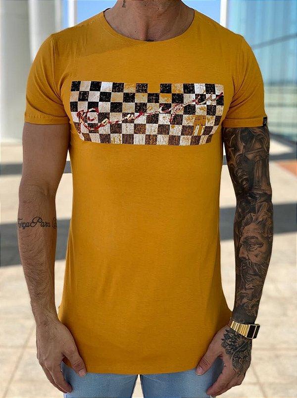Camiseta Longline Running Mostarda  - KAWIPII