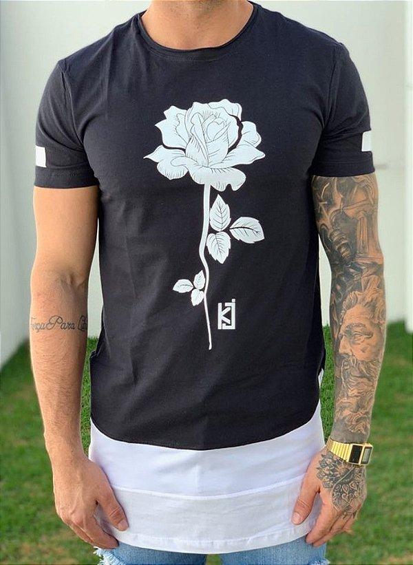 Camiseta Longline Flower Barrado - King Joy