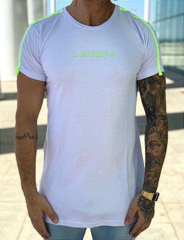 Camiseta Longline White Stripes Neon - Lacapa