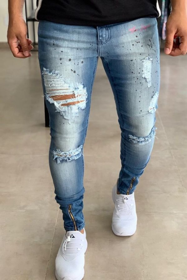 Calça Jeans Skinny Destroyed Resping - The Hope