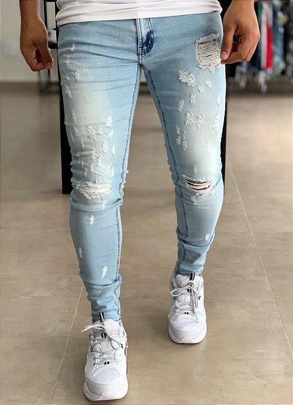 Calça Jeans Claro Skinny Destroyed Brooklyn - Zip Off